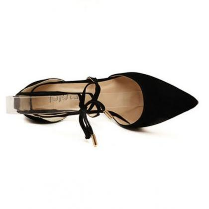 Black Suede Lace-Up Pointed Toe Hig..