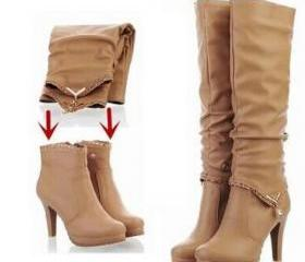 Convertible Two Way Leather Women Boots