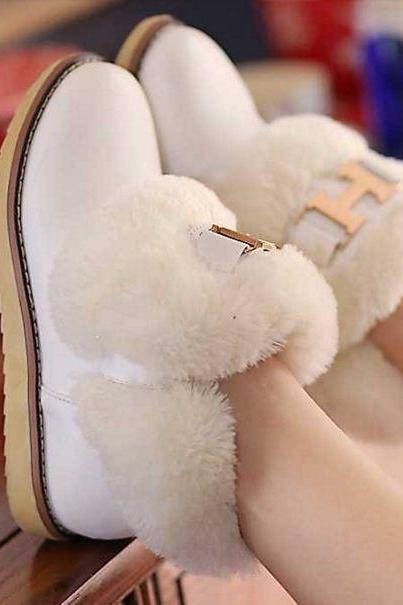 Ankle Fur Flat Heel Women Snow Boots