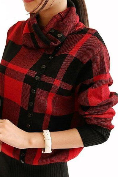 Women Turtleneck Plaid Print Knitted Sweater Shirt