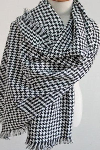 Warm Knitted Houndstooth Male Female Winter Scarf