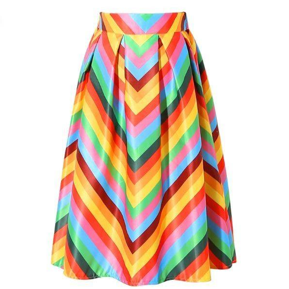 Lovely Colorful Stripe Pleated Flared Women Skirt